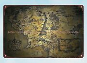 Map Of Middle Earth Metal Tin Sign Vintage Reproductions For Sale