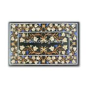 4and039x3and039 Marble Dining Table Top Precious Grapes And Leaves Inlay Outdoor Decor B414