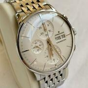 Junghans Meister Chronoscope Automatic Winding Menand039s Watch White Excellent+++