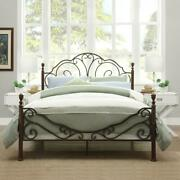 Queen Size Bed Frame Metal Platform Beds With Headboard And Footboard Vintage