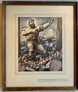 Vintage Paul Bunyan Framed/matted Prints With Quotes C.1940-50s Multiple Artists