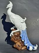Vintage Chinese Porcelain Phoenix Bird White With Blue Tail Art Deco Statue