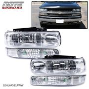 Clear Lens Headlights Assembly Fit For 99-02 Chevy Silverado Bumper Lamps Lh+rh