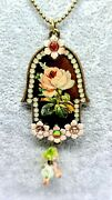 Gorgeous Metal Hamsa Necklace By Michal Negrin Brown Enamel Work With Flowers.