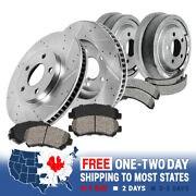 Front Brake Rotors + Ceramic Pads And Rear Drums + Shoes For Chevy Silverado 1500