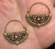 16th Century Rare Antique Islamic 22k Solid Yellow Gold Earrings Museum Pc