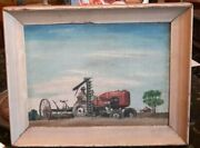 Antique Tractor Painting Farmer Plowing Midwest 1945 Orig Framed Signed 15x12
