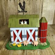 Vintage Enesco Wood Music Box Farm Barn With Animals Oh What A Beautiful Morning