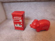 Lot Of 2 Vintage Banks Tin Vending Maching And Plastic Piggy Bank 4