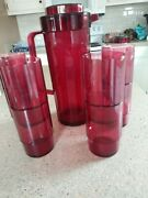 New Tupperware Preludio Acrylic Pitcher And 8 Stackable Tumblers Cranberry Red