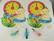 2 Vintage Carrington New Years Eve Die Cut Decorations And 3 Paper Noise Makers