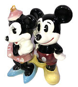 Enesco Walt Disney Productions Mickey And Minnie Mouse Figurines Vtg Japan Preown