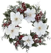 Nearly Natural 22 Snowed Frosted White Magnolia Red Berry Christmas Wreath