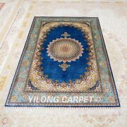 Yilong 4and039x6and039 Blue Silk Traditional Home Rugs Handmade Carpets Hand Knotted Z518a