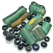 25 Authentic Ancient Roman Empire Glass Bead Artifacts - Green And Blue Antiquity