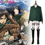 Attack On Titan Training Corps Cosplay Costume Full Set With Cape Halloween Lot