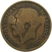 Great Britain Half Penny 1917 Gh Countermarked C34 009