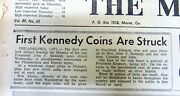 1964 Display Newspaper Numismatics - First Kennedy Half Dollar Coins Are Minted