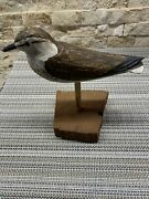 Wek Hand Carved And Painted Wood Shore Bird W/ Wood Base, Beautiful, Vintage