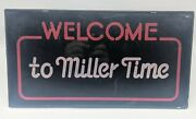 Vintage Welcome To Miller Time Lighted 17x9 Beer Sign 1983 Tested Small Chip
