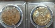 Two 1881-s Vividly Toned Morgan Silver Dollars Ms64 Pcgs