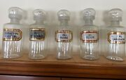 Rare Antique Set Of 5 Pharmacy Bottles Apothecary Glass With Gold Leaf