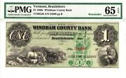 1860and039s 1 Brattleborovermont. Windham County Bank Pmg 65 Epq- Extremely Rare