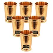 Rare Goblet Glass Tumbler Hammered Brass Serving Drinking Water Home 300ml 6pcs