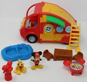Mickey Mouse Clubhouse Camping Set Camper Mickey Pluto 10 Piece Lot Playset 2009