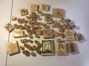 Wooden Ink Stamp Lot Sailboat Letters Dragonfly Car Clown Flower Butterfly R12