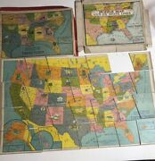 Vtg 1917 Weiler Dissected United States Us Map Cardboard Puzzlemissing Piece