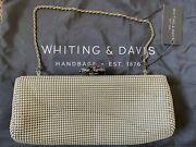 Whiting And Davis Crystal Flower Metal Mesh Clutch