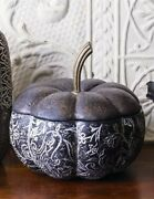 Victorian Trading Co Black White French Gourd Pumpkin Box Large 24f