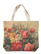 Victorian Trading Co Pink Roses Natureand039s Book Tote Bag Canvas