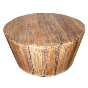 Rustic Reclaimed Solid Wood Handmade 36 Round Tapered Sides Barrel Coffee Table