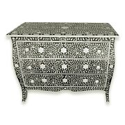 Curved French Provincial Style Bone Inlay Dresser Chest Of Drawers In Black 42