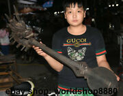 35.2 Old Chinese Wood Hand Carved Dragon Head 4-stringed Chinese Lute Pipa Qin