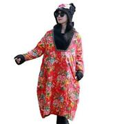 Winter Ethnic Floral Jacket Dress Maxi Womenand039s Folk Chinese Quilted Warm Robes L
