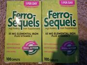 2 New Boxes Ferro Sequels High Potency Iron Caplets - 100 Ct Each, Expired 11/19