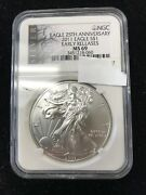 2011 Silver American Eagle 25th Anniversary Early Releases Ngc Slab Ms69