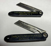 Lot Of 2 Vintage Advertising Pocket Knives - Gits Razor-nife For Threads Inc Nc