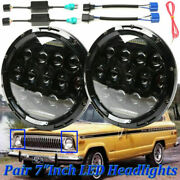 For Jeep Cherokee Compass Wrangler 7 Led Round Headlights High-low Beam Drl 2x