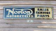 New 1950's-60's Style Norton Motorcycle Dealer/service/parts Sign/ad Garage Art