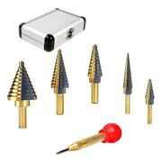 20x5 Pcs Step Drill Bit Set With Automatic Center Punch