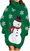 Jumppmile Womens Ugly Christmas Xmas Oversize Turtleneck Pullover Sweater Dress