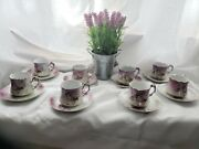 Lefton China Collection Pink Roses Set Of 8 - Hand Painted Registered Us Patent