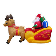 5xchristmas Santa Elk Sleigh Inflatable Led Glowing Party Holiday Diy