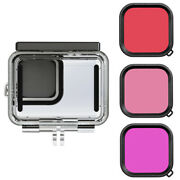 5xwaterproof Case + 3 Filters For Go Pro Hero 9 Accessories Diving Housing