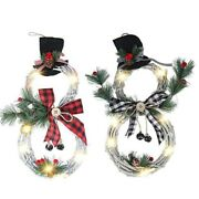 20xchristmas Wreath Led Front Door Wreaths Snowman Artificial Wreaths For Xmas