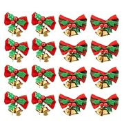 20x16 Pack Christmas Bow With Bells Xmas Mini Bowk Craft